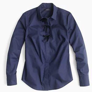 NWT JCrew Navy Perfect Shirt Velvet Bow Button Up